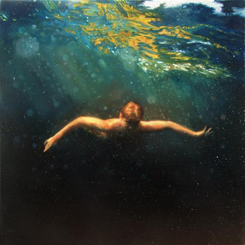 Jennifer Walton, Dark Water Swim 3, Natur: Wasser, Menschen, Gegenwartskunst, Abstrakter Expressionismus