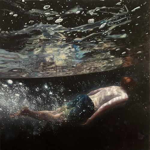 Jennifer Walton, Moonage Daydream, Weltraum: Mond, Natur: Wasser, Gegenwartskunst, Abstrakter Expressionismus
