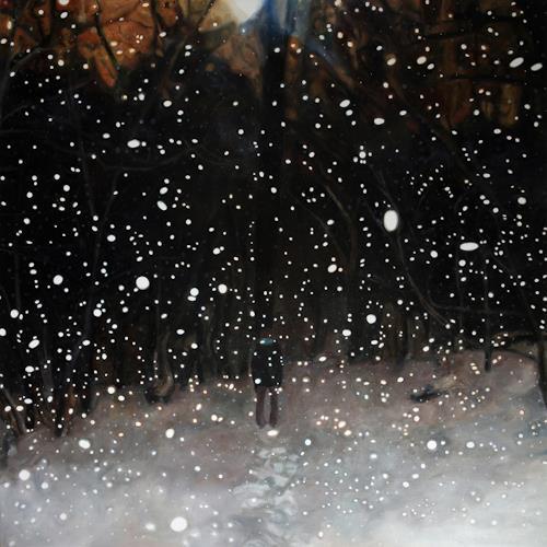 Jennifer Walton, Into the Woods on a Snowy Night, Landschaft: Winter, Weltraum: Gestirne, Realismus, Abstrakter Expressionismus