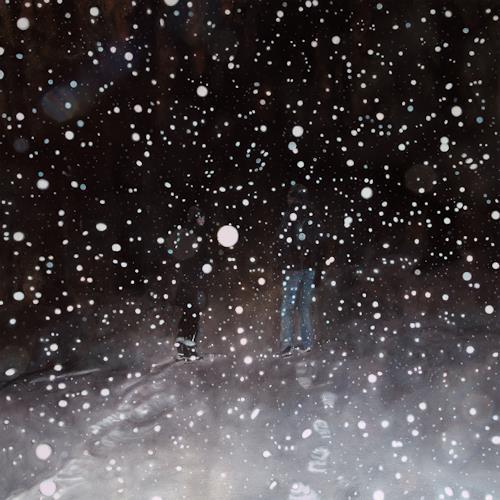 Jennifer Walton, Conversation on a Snowy Night, Landschaft: Winter, Weltraum: Gestirne, Realismus