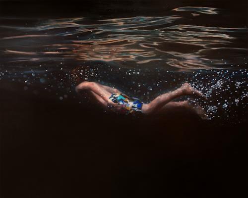 Jennifer Walton, Black Velvet, Natur: Wasser, Menschen: Kinder, Gegenwartskunst, Expressionismus