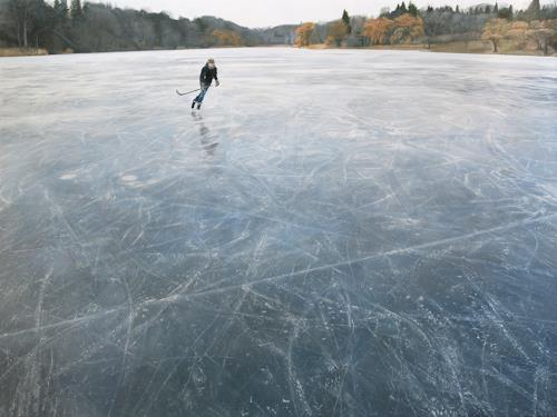 Jennifer Walton, Skating on Blue Grey Ice, Landschaft: Winter, Sport, Gegenwartskunst, Expressionismus