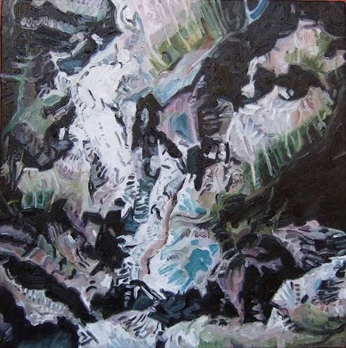 Jennifer Walton, Bow Range 1, Banff National Park, View from Google Earth, Landschaft: Berge, Technik, Realismus