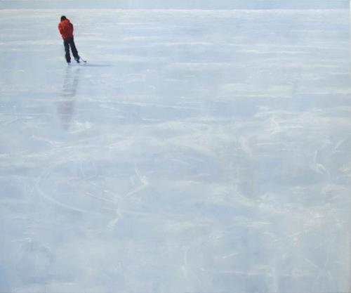 Jennifer Walton, Skater 3, Diverse Menschen, Landschaft: Winter, Gegenwartskunst