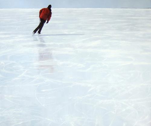 Jennifer Walton, Skater 7, Landschaft: Winter, Sport, Gegenwartskunst, Expressionismus