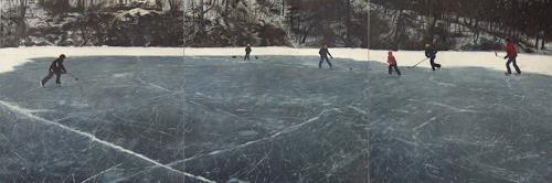 Jennifer Walton, Shinny, Sport, Landschaft: Winter, Gegenwartskunst, Abstrakter Expressionismus