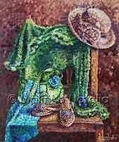 N. Malinko, Still-Life with a Lady's sandals and hat.