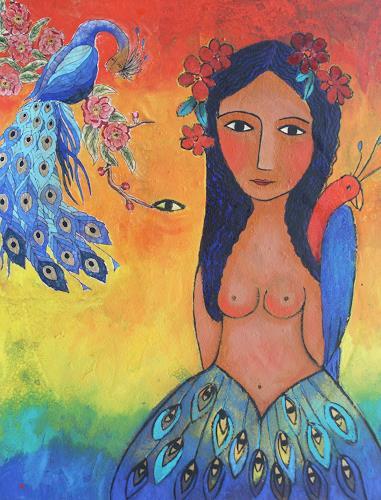Helga Hornung, Paradiesisch, Fantasie, Dekoratives, New Image Painting