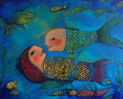 Helga Hornung, Am Meeresgrund, Menschen, Fantasie, Gegenwartskunst, Expressionismus