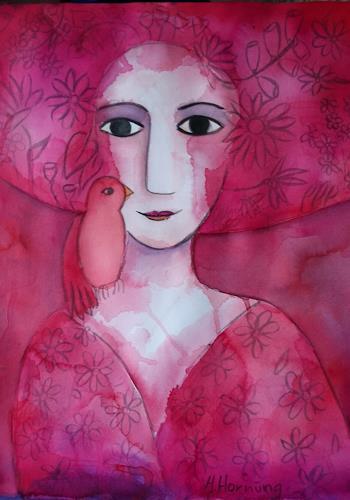 Helga Hornung, Mädchen in Rot, Menschen: Frau, Fantasie, Gegenwartskunst