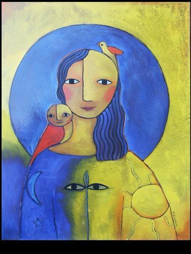 Helga Hornung, Hüterin der Erde, Fantasie, Glauben, Abstrakte Kunst
