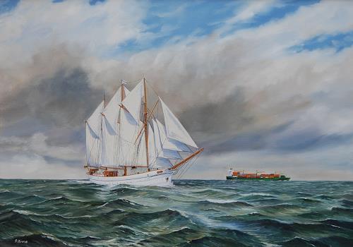 Andreas Kruse, Anny von Hamburg, Landschaft: See/Meer, Verkehr: Schiff, Realismus