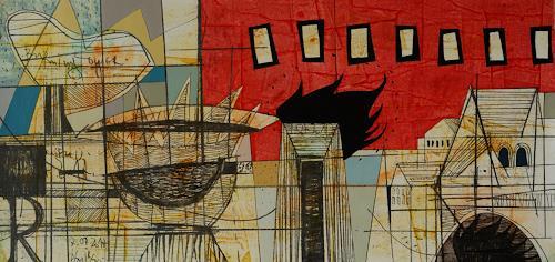 Georgi Demirev, Burning tower, Abstraktes, Architektur, Konzeptkunst, Abstrakter Expressionismus