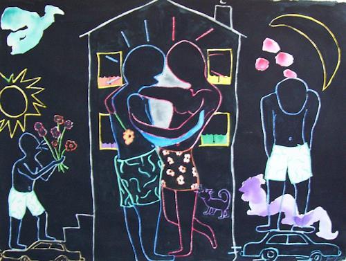 Erik Slutsky, Bel Ange And The Girl From Plessiville, Menschen: Paare, Gefühle: Liebe, Postmoderne, Abstrakter Expressionismus