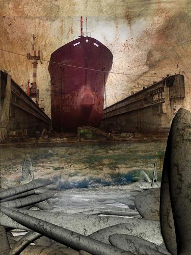 Lino Budano, sea passage, Landschaft: Winter, Postsurrealismus, Abstrakter Expressionismus