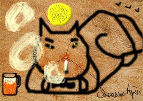 Jean-Pierre CHEVASSUS-AGNES, MY DRINKING SMOKING CAT, Diverse Romantik, Poesie, Gegenwartskunst