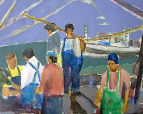 Jean-Pierre CHEVASSUS-AGNES, PORTUGUESE FISHERS BOATS, Arbeitswelt, Menschen: Mann, Naive Kunst, Expressionismus