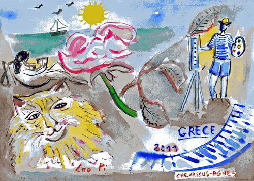 Jean-Pierre CHEVASSUS-AGNES, VACANCES EN GRECE, Gefühle: Freude, Landschaft: See/Meer, Barock