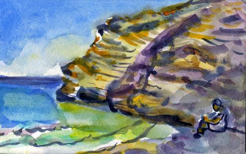 Jean-Pierre CHEVASSUS-AGNES, ANDROS GRECE CYCLADES PLAGE ET BAIGNEUSE, Landschaft: See/Meer, Landschaft: Strand, Romantik, Neuzeit