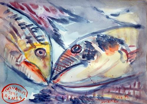 Jean-Pierre CHEVASSUS-AGNES, DORADES à Sète (13) France, Tiere: Wasser, Markt, Neuzeit, Abstrakter Expressionismus