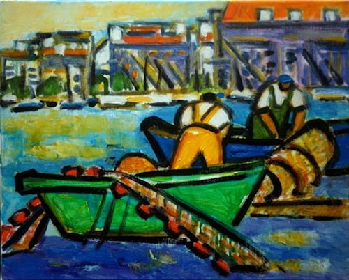 Jean-Pierre CHEVASSUS-AGNES, Pêcheurs à Sète France, Arbeitswelt, Landschaft: See/Meer, Neuzeit, Expressionismus