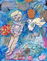 J. CHEVASSUS-AGNES, PALETTE 33 Enfant au bouquet et à la colombe