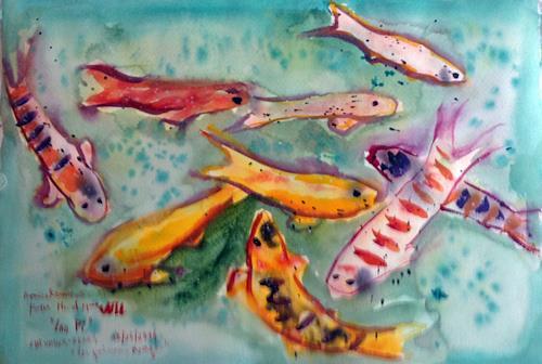 Jean-Pierre CHEVASSUS-AGNES, CHINESES FISHS, Symbol, Tiere: Wasser, Barock, Expressionismus