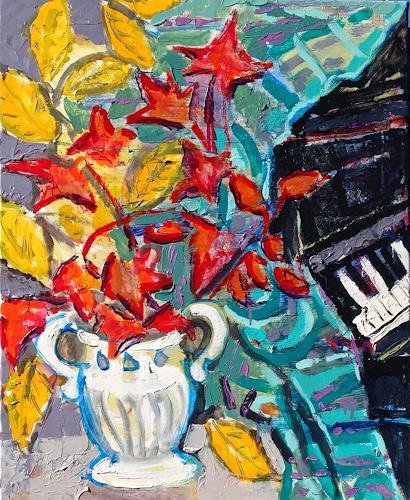 Jean-Pierre CHEVASSUS-AGNES, AUTUMN  LEAVES  COMPOSITION, Landschaft: Herbst, Pflanzen: Bäume, Naive Kunst, Expressionismus
