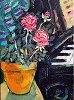 J. CHEVASSUS-AGNES, Roses de janvier et piano noir