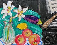 Jean-Pierre CHEVASSUS-AGNES, Lys, citron, pommes, aubergine et piano noir