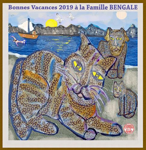 Jean-Pierre CHEVASSUS-AGNES, GUTEN  YAHRE  2019  with cats bengale, Gefühle: Liebe, Tiere: Land, Gegenwartskunst