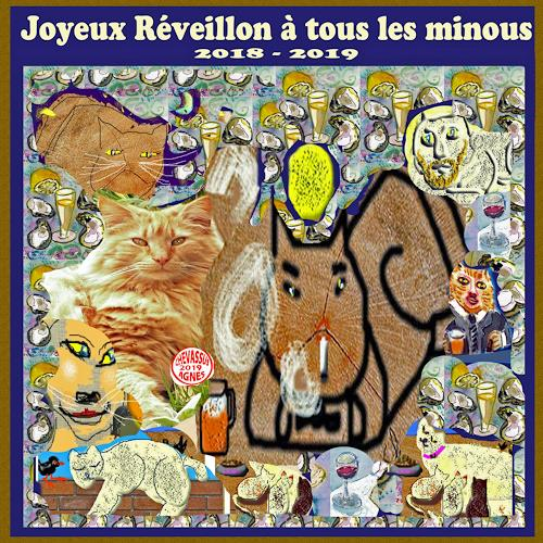 Jean-Pierre CHEVASSUS-AGNES, GUTEN  YAHRE  2019 WITH CATS, Party/Feier, Tiere: Land, Gegenwartskunst