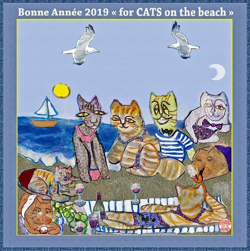 Jean-Pierre CHEVASSUS-AGNES, GUTEN  YAHRE  2019 cats on beach, Party/Feier, Gefühle: Liebe, Gegenwartskunst