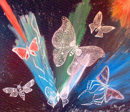 Evelin König, Schlupf der Schmetterlinge  aus der Dunkelheit ans Licht, Tiere: Luft, Natur: Luft, Symbolismus