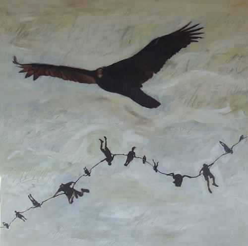Deborah Maris Lader, Chain of Events II, Tiere: Luft, Bewegung, Gegenwartskunst