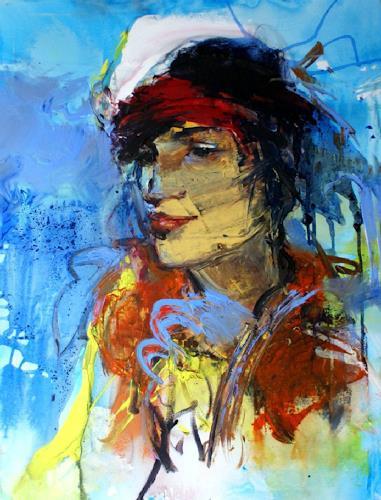 Shefqet Avdush Emini, 9.untitled, Menschen: Frau, Expressionismus, Abstrakter Expressionismus