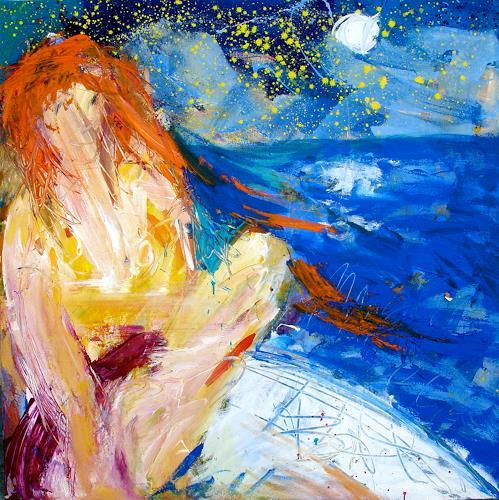 Andrey Bogoslowsky, Red head at sea, Akt/Erotik: Akt Frau, Landschaft: See/Meer, Neo-Expressionismus