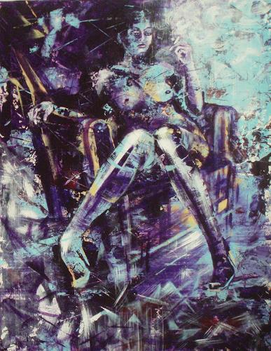 Carmen Kroese, Die letzte Zigarette, Akt/Erotik: Akt Frau, Menschen: Frau, Gegenwartskunst