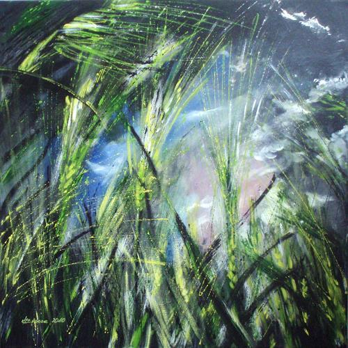 Carmen Heidi Kroese, Gerstenfeld vor dem Sturm, Natur: Erde, Ernte, Gegenwartskunst, Expressionismus