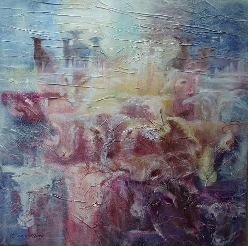 Carmen Kroese, Schafherde, Tiere: Land, Natur: Diverse, Abstrakte Kunst