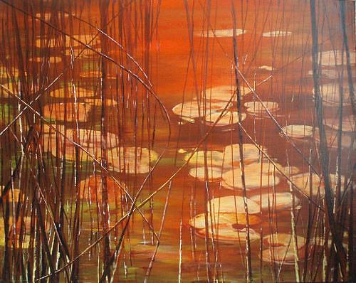 Carmen Heidi Kroese, Stille, Natur: Wasser, Landschaft: See/Meer, Gegenwartskunst, Expressionismus