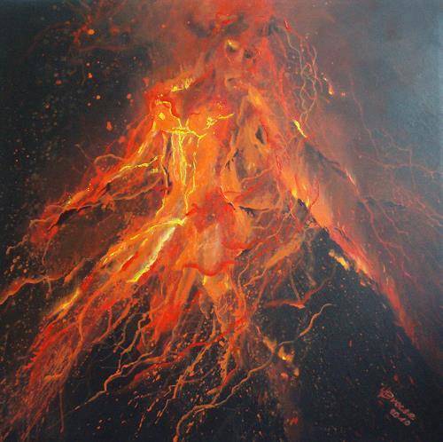 Carmen Kroese, Vulkanausbruch-Die Geburt Evas-Eruption der Gefühle, Akt/Erotik: Akt Frau, Natur: Feuer, Gegenwartskunst, Abstrakter Expressionismus