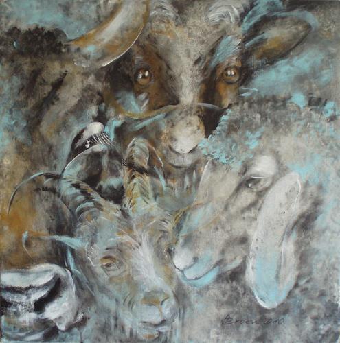 Carmen Heidi Kroese, Vier Milchlieferanten, Tiere: Land, Stilleben, Gegenwartskunst