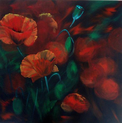 Carmen Kroese, Feuerblumen, Pflanzen: Blumen, Natur: Erde, Gegenwartskunst, Expressionismus