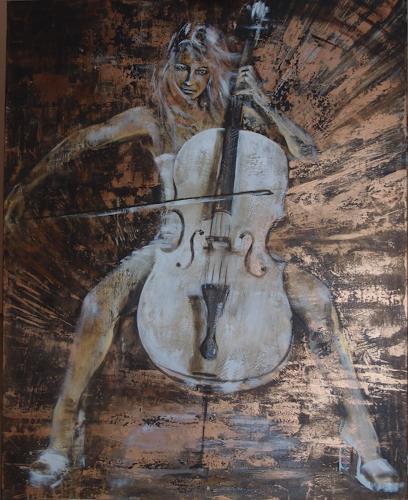 Carmen Kroese, White Cello, Menschen: Frau, Musik: Instrument, Gegenwartskunst, Expressionismus