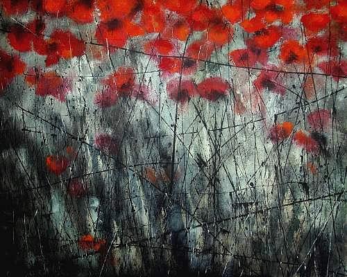 Carmen Heidi Kroese, Coquelicot, Natur: Erde, Pflanzen: Blumen, Gegenwartskunst, Abstrakter Expressionismus