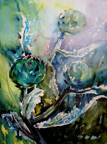 Carmen Heidi Kroese, Artischokken, Natur: Erde, Diverse Pflanzen, Gegenwartskunst, Expressionismus