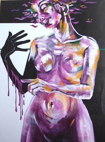 Carmen Kroese, Die Malerin II, Akt/Erotik: Akt Frau, Menschen: Frau, Gegenwartskunst, Abstrakter Expressionismus