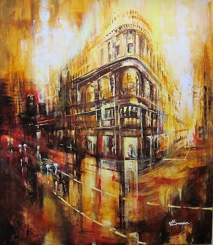 Carmen Kroese, Street view gelb, Verkehr: Auto, Bauten: Haus, Gegenwartskunst, Expressionismus