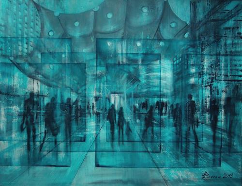 Carmen Kroese, Paris La Défense, Diverse Menschen, Diverse Bauten, Gegenwartskunst, Abstrakter Expressionismus